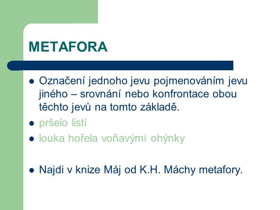 METAFORA Označení jednoho jevu pojmenováním jevu jiného – srovnání nebo konfrontace obou těchto jevů na tomto základě.