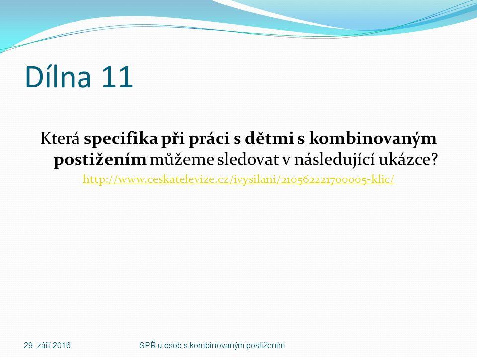Dílna 11 Která specifika při práci s dětmi s kombinovaným postižením můžeme sledovat v následující ukázce.