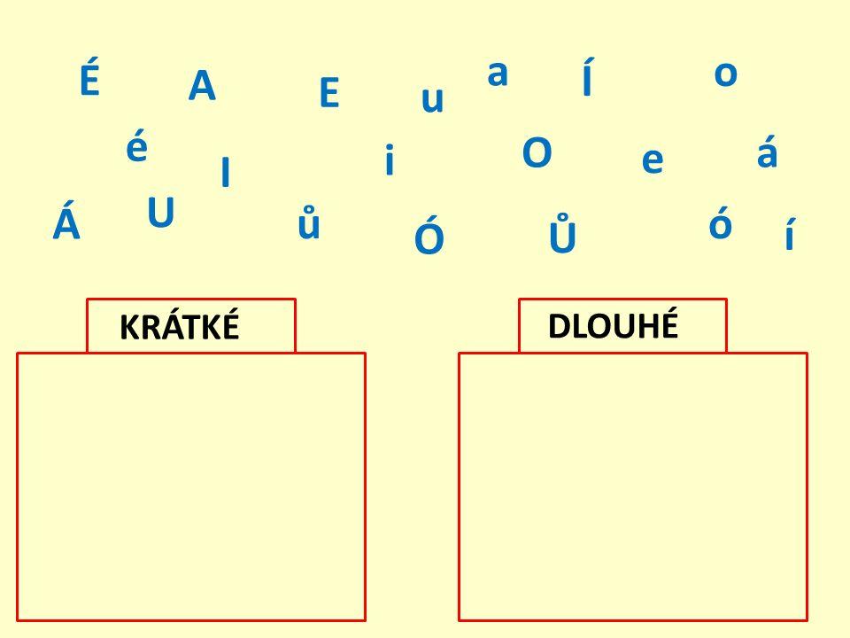 Zařaď správně slova do rámečků podle délky samohlásky.