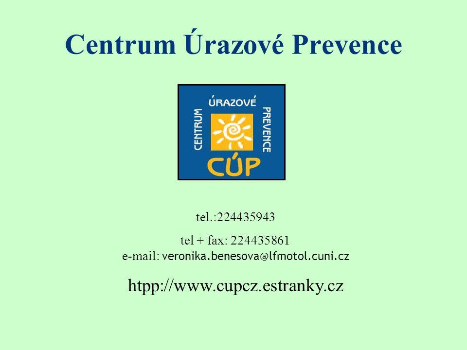 Centrum Úrazové Prevence tel.:224435943 tel + fax: 224435861 e-mail: veronika.benesova@lfmotol.cuni.cz htpp://www.cupcz.estranky.cz