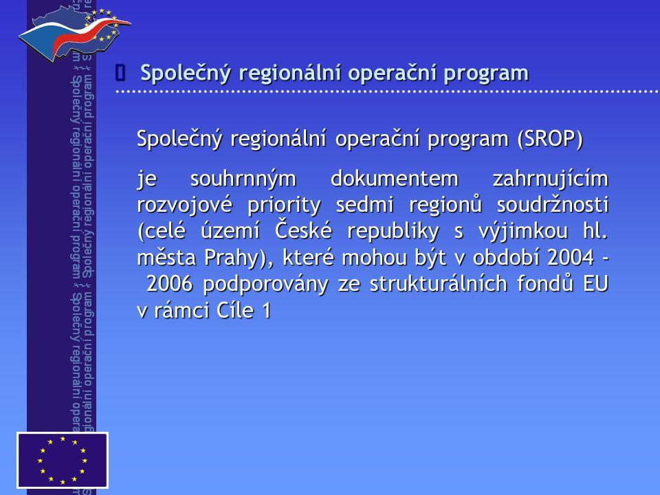 dosažení trvalého hospodářského růstu i růstu kvality života obyvatel regionů dosažení trvalého hospodářského růstu i růstu kvality života obyvatel regionů prostřednictvím nových ekonomických aktivit prostřednictvím nových ekonomických aktivit s důrazem na tvorbu pracovních míst v regionálním i místním měřítku s důrazem na tvorbu pracovních míst v regionálním i místním měřítku zlepšení kvality infrastruktury a životního prostředí zlepšení kvality infrastruktury a životního prostředí všeobecný rozvoj lidských zdrojů a prohlubování sociální integrace všeobecný rozvoj lidských zdrojů a prohlubování sociální integrace Globální cíl programu 