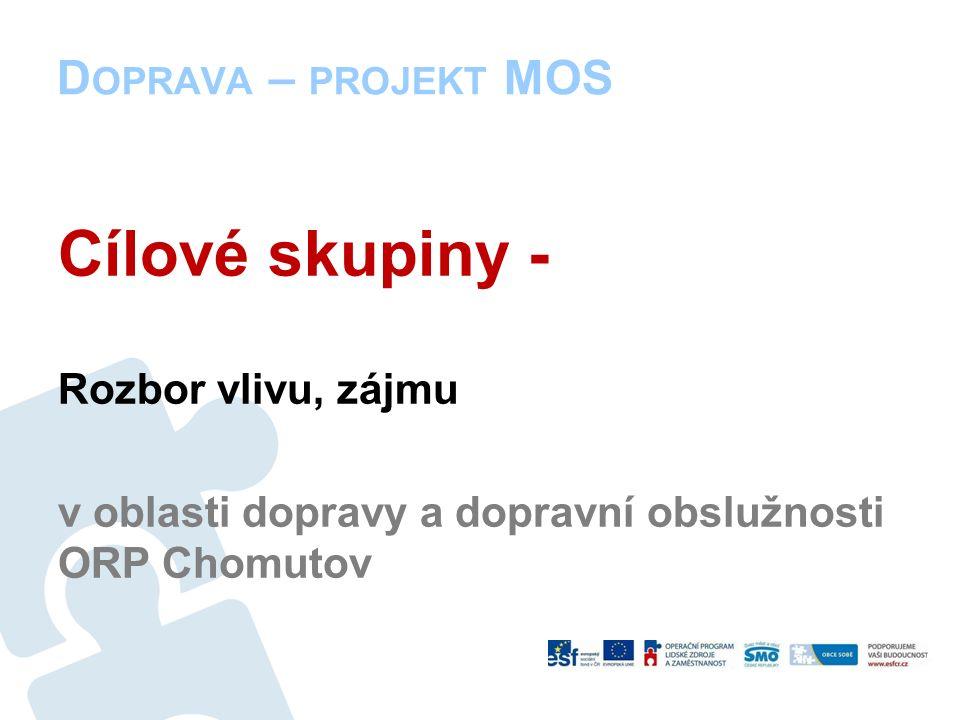 D OPRAVA – PROJEKT MOS Cílové skupiny - Rozbor vlivu, zájmu v oblasti dopravy a dopravní obslužnosti ORP Chomutov