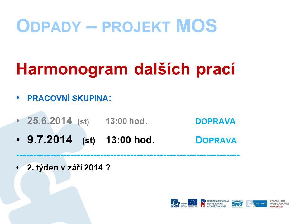 O DPADY – PROJEKT MOS Harmonogram dalších prací PRACOVNÍ SKUPINA : 25.6.2014 (st) 13:00 hod.