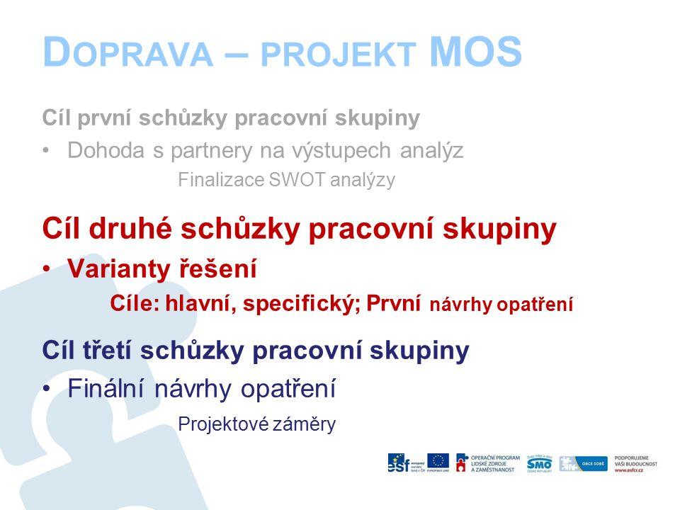 Cíl první schůzky pracovní skupiny Dohoda s partnery na výstupech analýz Finalizace SWOT analýzy Cíl druhé schůzky pracovní skupiny Varianty řešení Cíle: hlavní, specifický; První návrhy opatření Cíl třetí schůzky pracovní skupiny Finální návrhy opatření Projektové záměry D OPRAVA – PROJEKT MOS