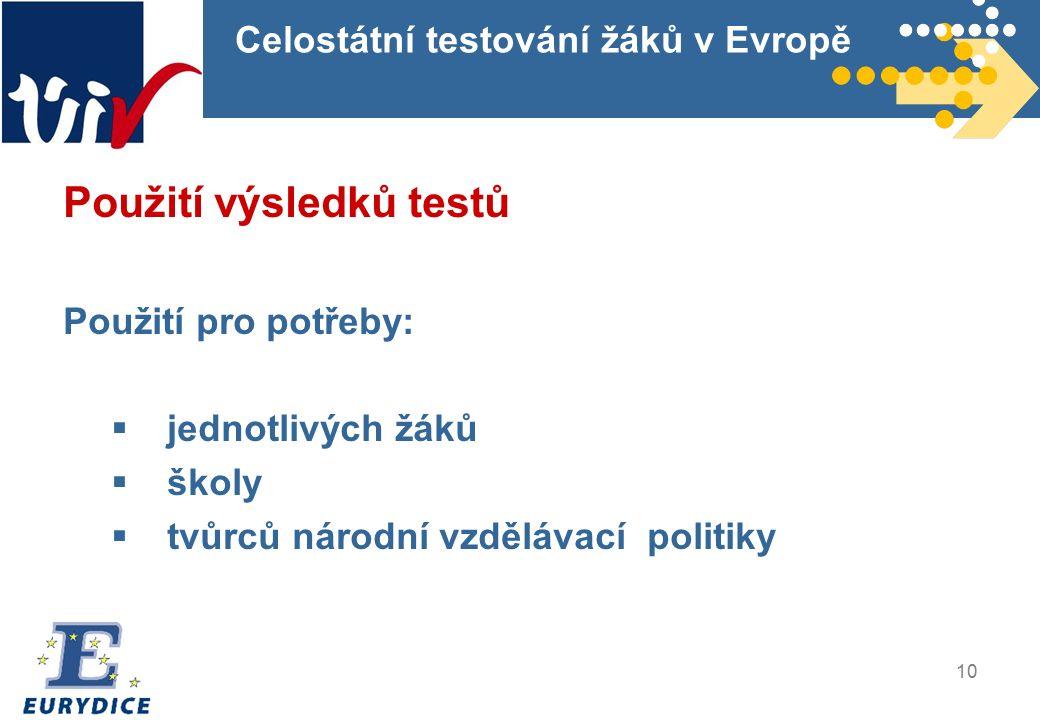 10 Celostátní testování žáků v Evropě Použití výsledků testů Použití pro potřeby:  jednotlivých žáků  školy  tvůrců národní vzdělávací politiky