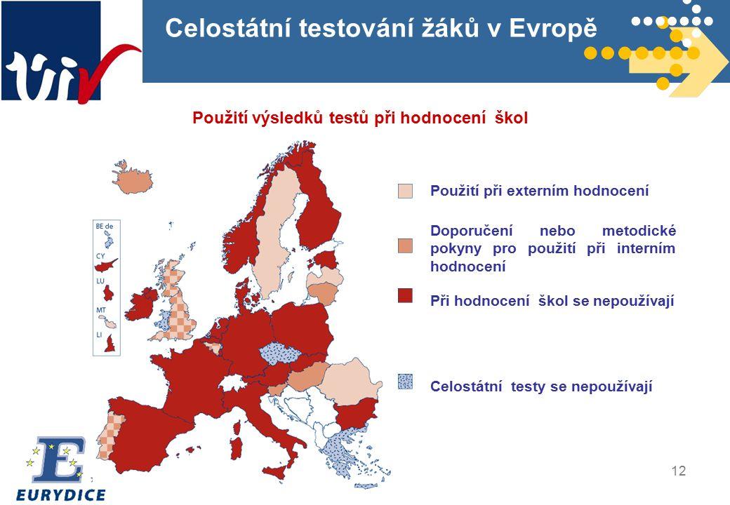 12 Celostátní testování žáků v Evropě Použití výsledků testů při hodnocení škol Použití při externím hodnocení Doporučení nebo metodické pokyny pro použití při interním hodnocení Při hodnocení škol se nepoužívají Celostátní testy se nepoužívají