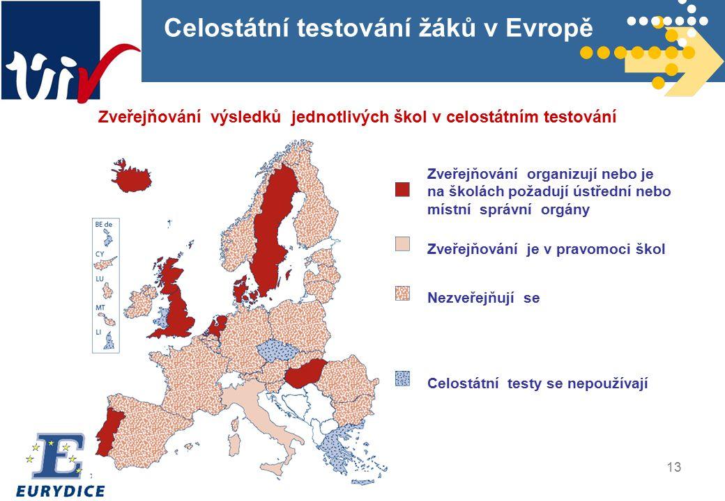 13 Celostátní testování žáků v Evropě Zveřejňování výsledků jednotlivých škol v celostátním testování Zveřejňování organizují nebo je na školách požadují ústřední nebo místní správní orgány Zveřejňování je v pravomoci škol Nezveřejňují se Celostátní testy se nepoužívají