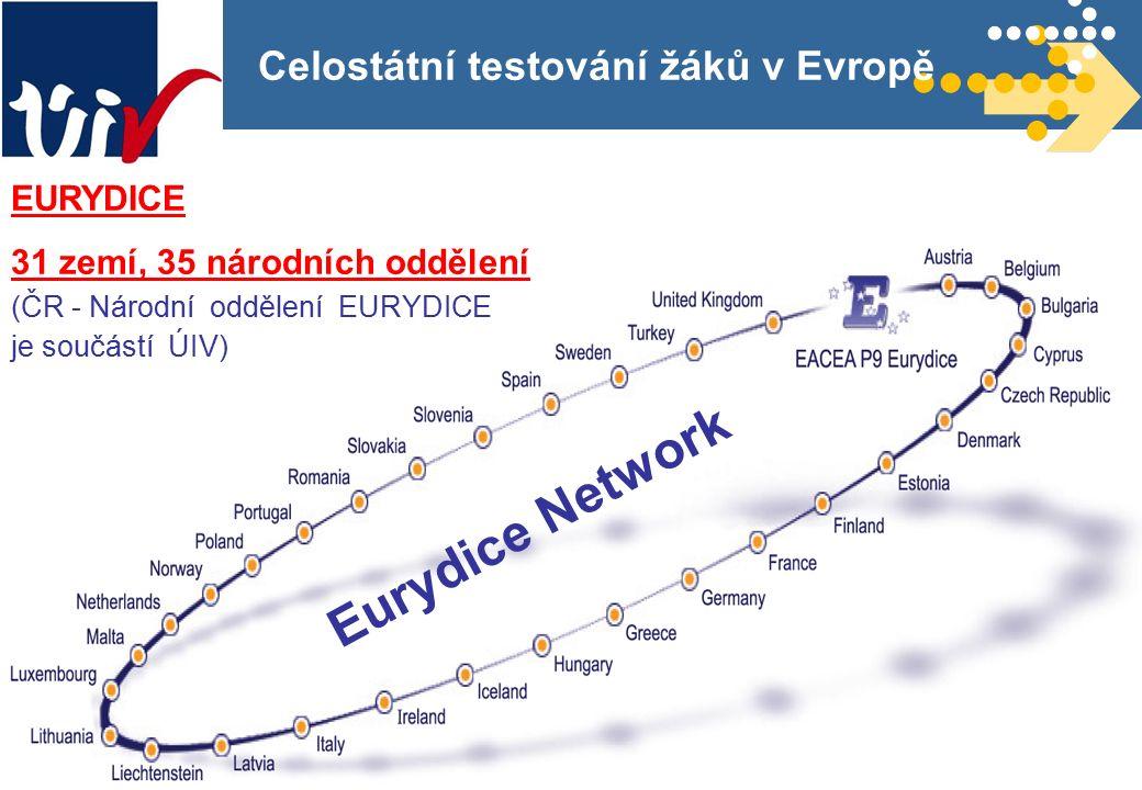 3 Celostátní testování žáků v Evropě EURYDICE 31 zemí, 35 národních oddělení (ČR - Národní oddělení EURYDICE je součástí ÚIV) Eurydice Network