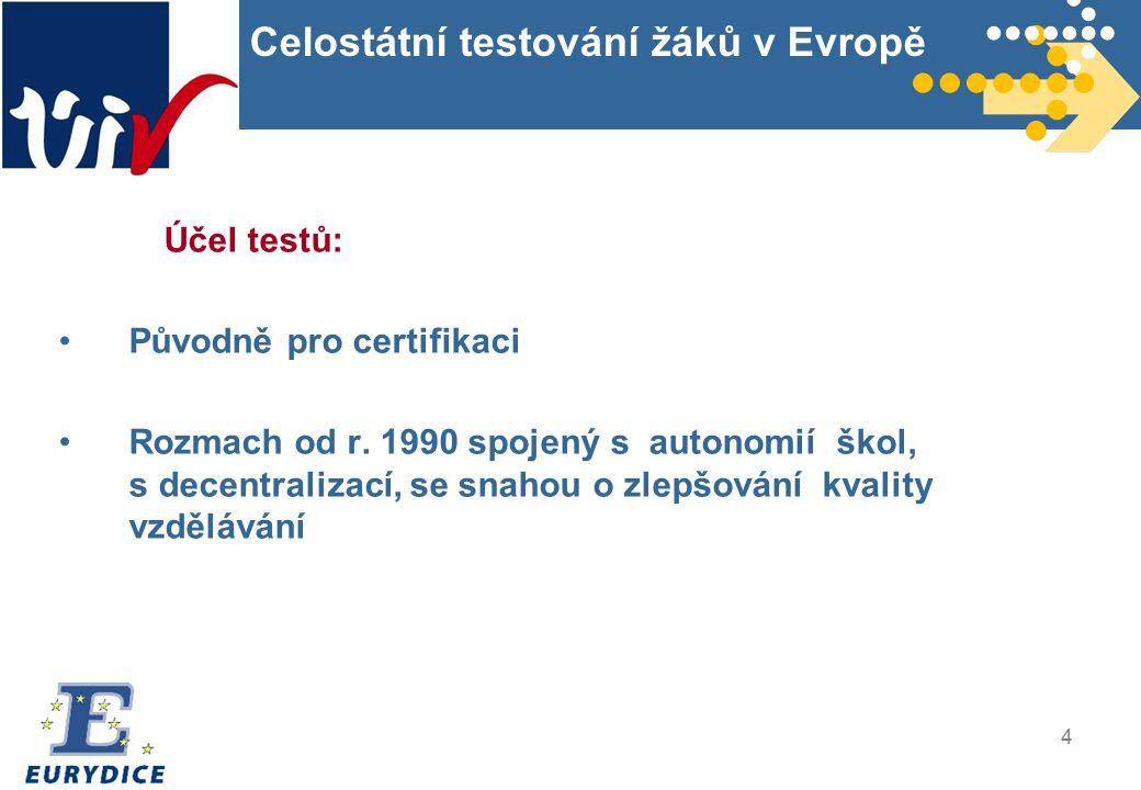 4 Celostátní testování žáků v Evropě Účel testů: Původně pro certifikaci Rozmach od r.
