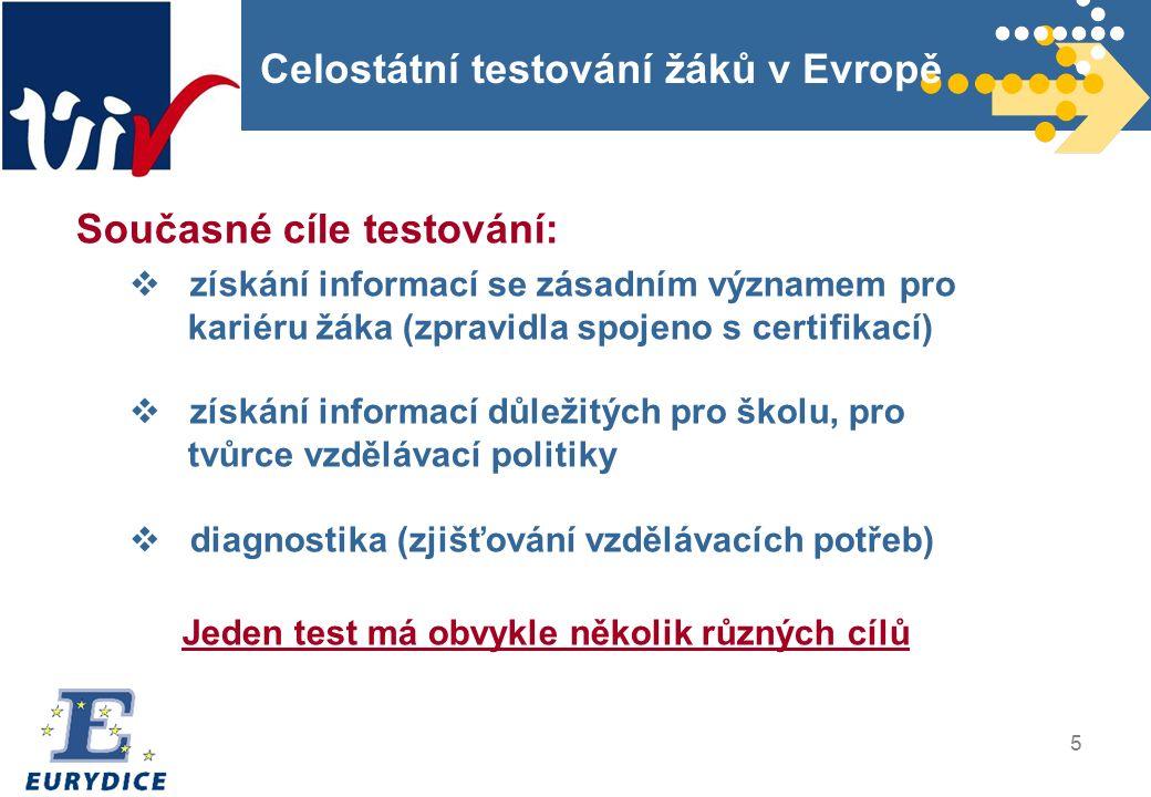 5 Celostátní testování žáků v Evropě Současné cíle testování:  získání informací se zásadním významem pro kariéru žáka (zpravidla spojeno s certifikací)  získání informací důležitých pro školu, pro tvůrce vzdělávací politiky  diagnostika (zjišťování vzdělávacích potřeb) Jeden test má obvykle několik různých cílů