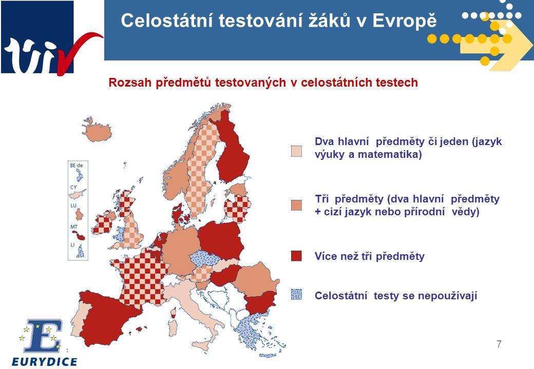7 Celostátní testování žáků v Evropě Rozsah předmětů testovaných v celostátních testech Dva hlavní předměty či jeden (jazyk výuky a matematika) Tři předměty (dva hlavní předměty + cizí jazyk nebo přírodní vědy) Více než tři předměty Celostátní testy se nepoužívají