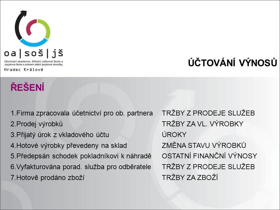 ÚČTOVÁNÍ VÝNOSŮ ŘEŠENÍ 1.Firma zpracovala účetnictví pro ob.