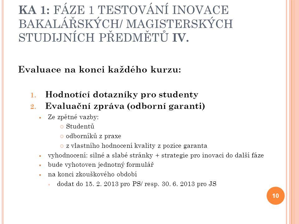 KA 1: FÁZE 1 TESTOVÁNÍ INOVACE BAKALÁŘSKÝCH/ MAGISTERSKÝCH STUDIJNÍCH PŘEDMĚTŮ IV.