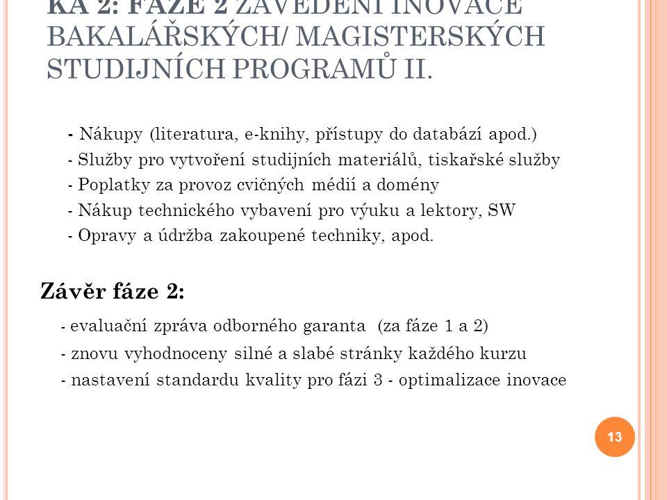 KA 2: FÁZE 2 ZAVEDENÍ INOVACE BAKALÁŘSKÝCH/ MAGISTERSKÝCH STUDIJNÍCH PROGRAMŮ II.