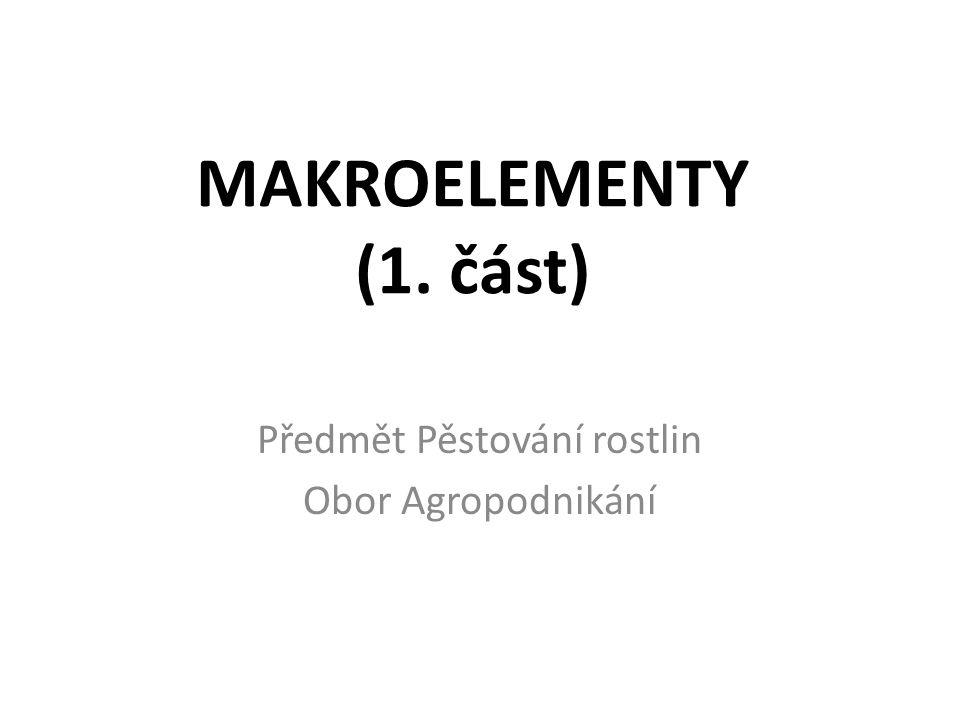 Makroelementy CO PATŘÍ MEZI MAKROELEMENTY?