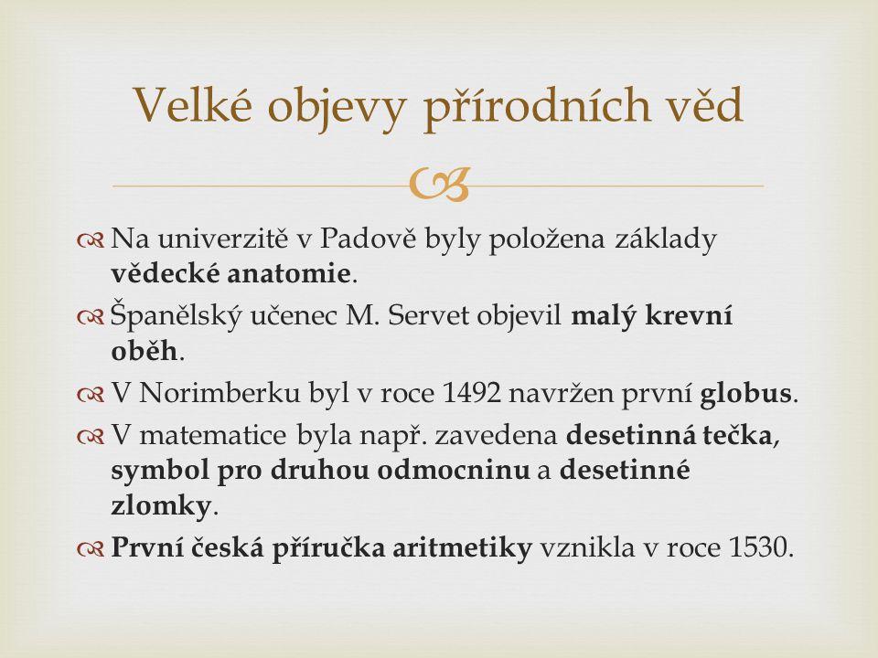   Na univerzitě v Padově byly položena základy vědecké anatomie.