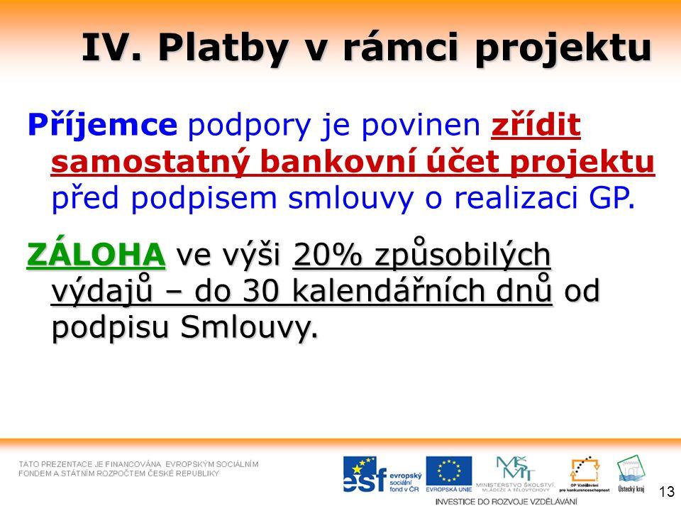 IV. Platby v rámci projektu Příjemce podpory je povinen zřídit samostatný bankovní účet projektu před podpisem smlouvy o realizaci GP. ZÁLOHAve výši 2