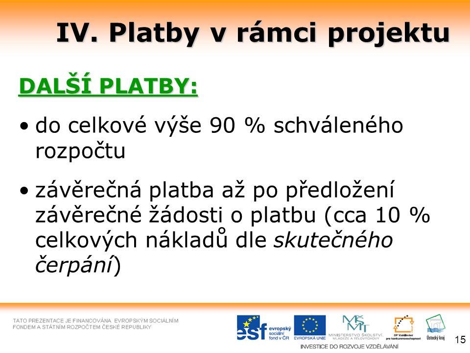 IV. Platby v rámci projektu DALŠÍ PLATBY: do celkové výše 90 % schváleného rozpočtu závěrečná platba až po předložení závěrečné žádosti o platbu (cca