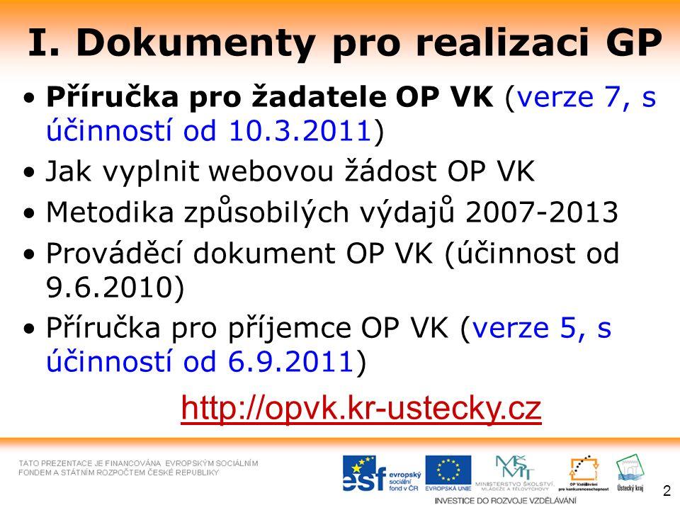 I. Dokumenty pro realizaci GP Příručka pro žadatele OP VK (verze 7, s účinností od 10.3.2011) Jak vyplnit webovou žádost OP VK Metodika způsobilých vý