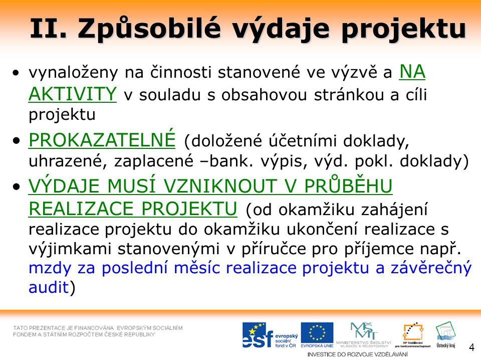 II. Způsobilé výdaje projektu vynaloženy na činnosti stanovené ve výzvě a NA AKTIVITY v souladu s obsahovou stránkou a cíli projektu PROKAZATELNÉ (dol