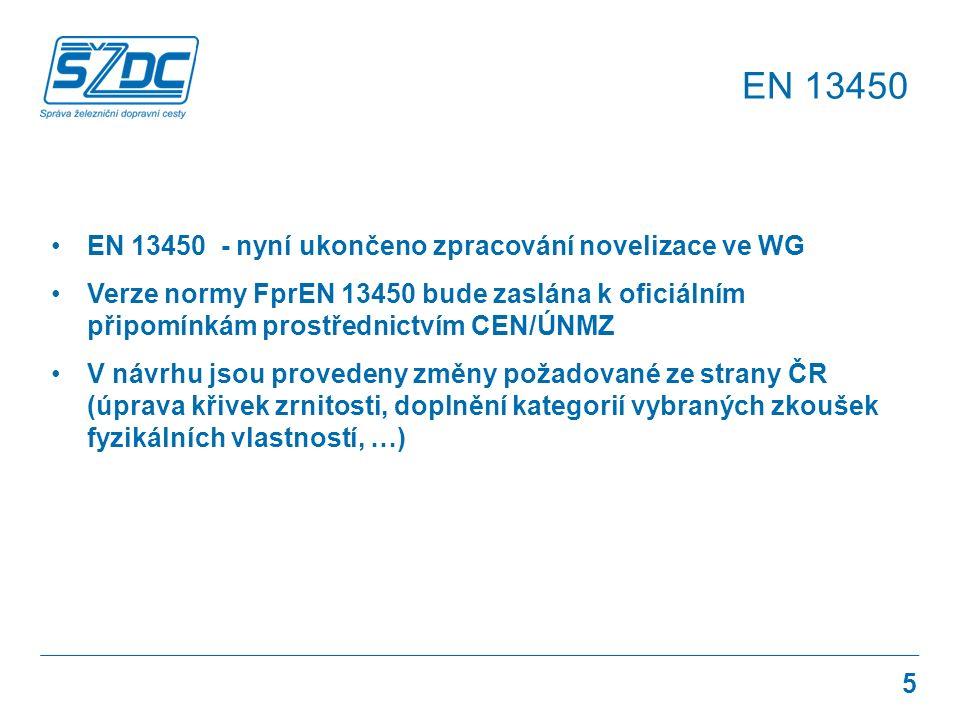 EN 13450 - nyní ukončeno zpracování novelizace ve WG Verze normy FprEN 13450 bude zaslána k oficiálním připomínkám prostřednictvím CEN/ÚNMZ V návrhu jsou provedeny změny požadované ze strany ČR (úprava křivek zrnitosti, doplnění kategorií vybraných zkoušek fyzikálních vlastností, …) EN 13450 5