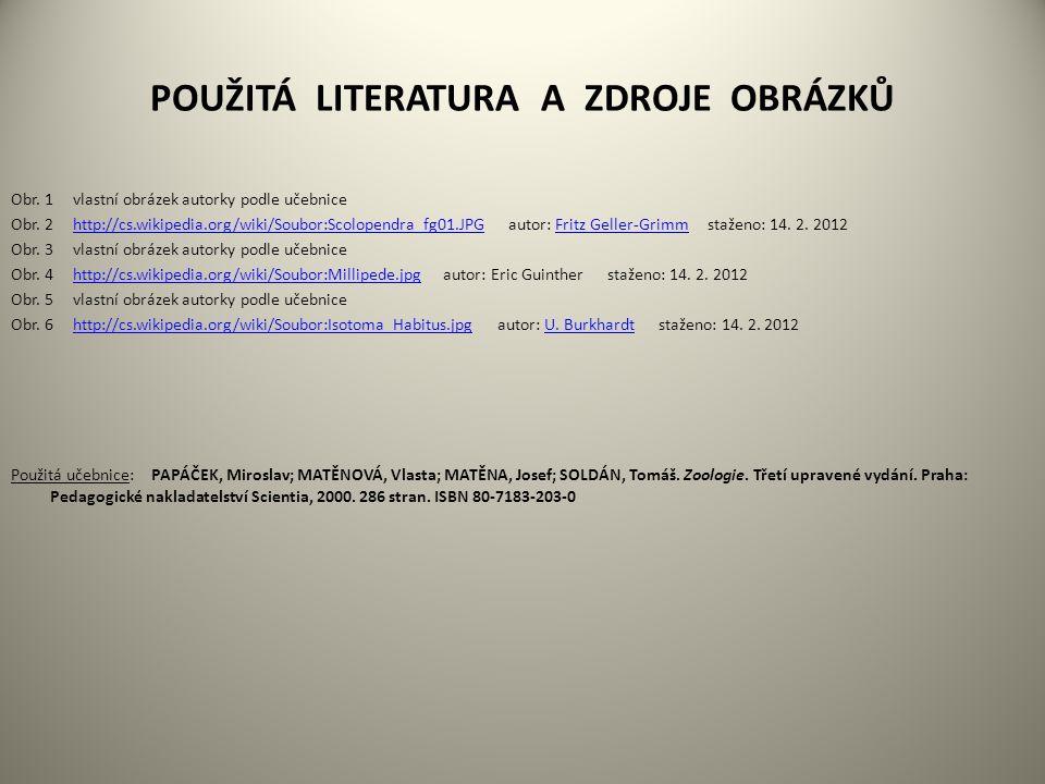 POUŽITÁ LITERATURA A ZDROJE OBRÁZKŮ Obr. 1 vlastní obrázek autorky podle učebnice Obr.