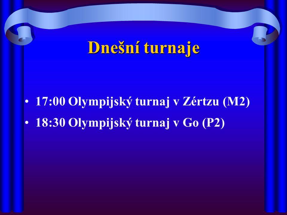 Dnešní turnaje 17:00 Olympijský turnaj v Zértzu (M2) 18:30 Olympijský turnaj v Go (P2)