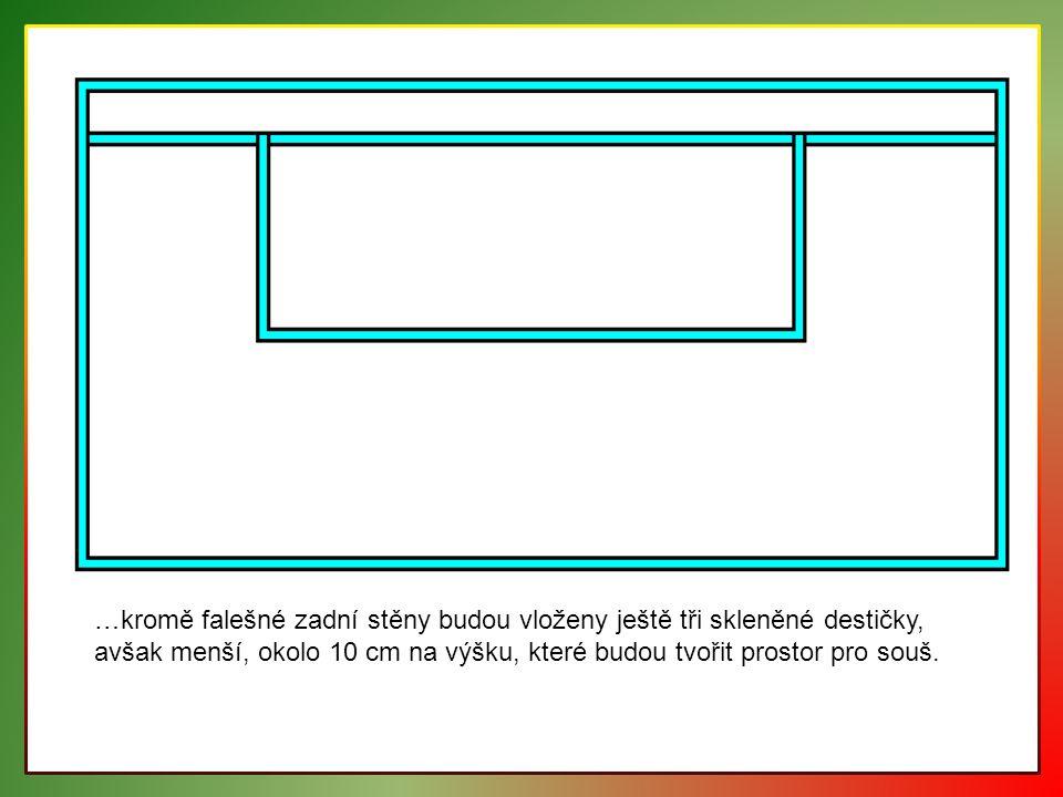 …kromě falešné zadní stěny budou vloženy ještě tři skleněné destičky, avšak menší, okolo 10 cm na výšku, které budou tvořit prostor pro souš.