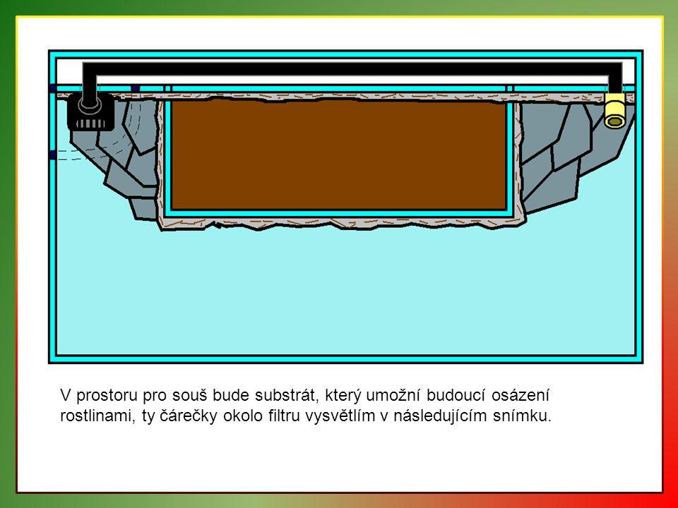 V prostoru pro souš bude substrát, který umožní budoucí osázení rostlinami, ty čárečky okolo filtru vysvětlím v následujícím snímku.