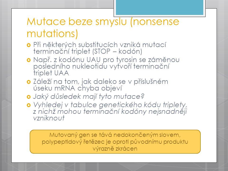 Mutace beze smyslu (nonsense mutations)  Při některých substitucích vzniká mutací terminační triplet (STOP – kodón)  Např. z kodónu UAU pro tyrosin