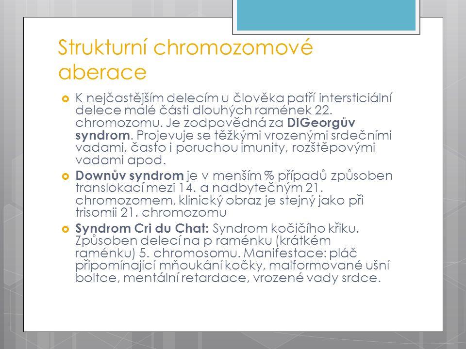 Strukturní chromozomové aberace  K nejčastějším delecím u člověka patří intersticiální delece malé části dlouhých ramének 22.