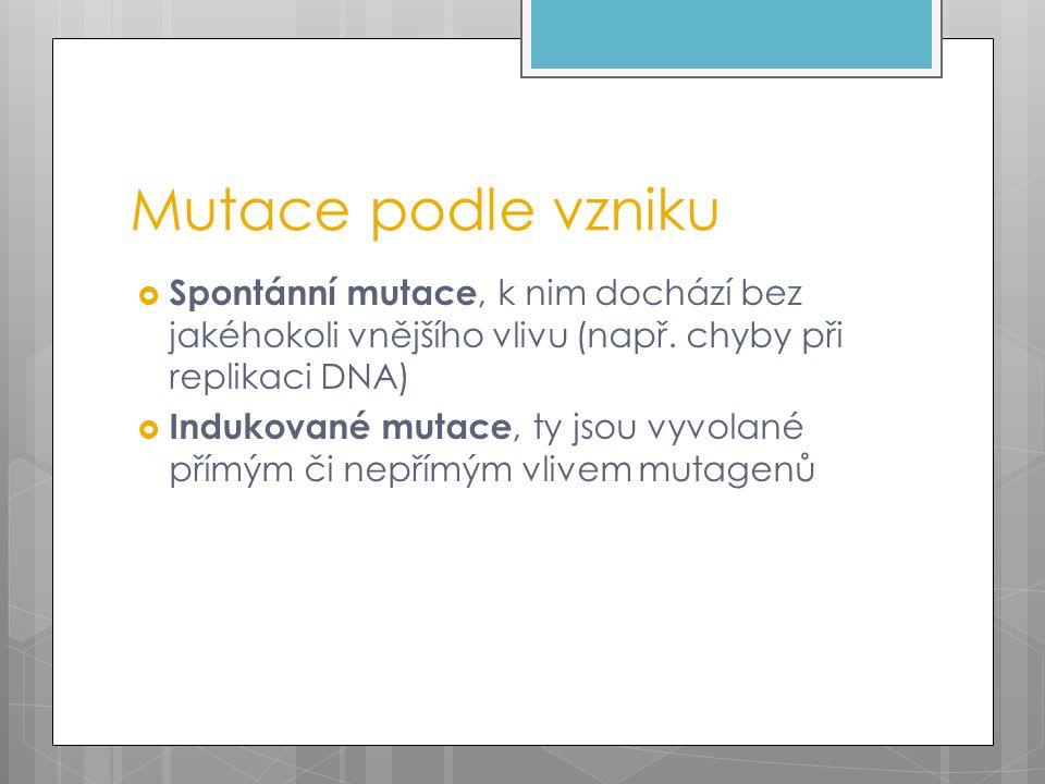 Mutace podle vzniku  Spontánní mutace, k nim dochází bez jakéhokoli vnějšího vlivu (např.