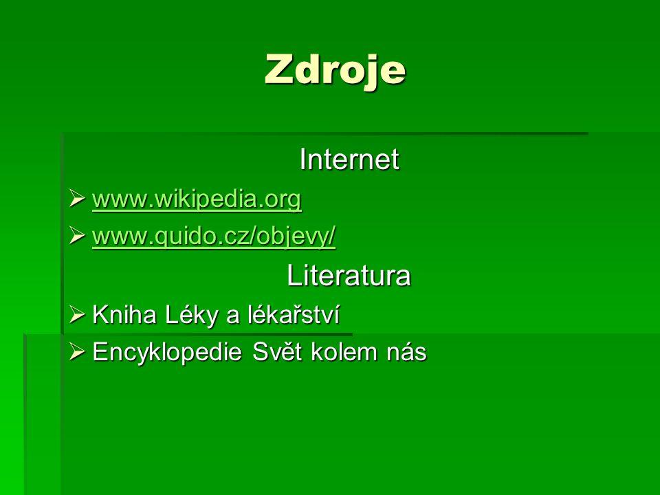 Zdroje Internet  www.wikipedia.org www.wikipedia.org  www.quido.cz/objevy/ www.quido.cz/objevy/ Literatura  Kniha Léky a lékařství  Encyklopedie S