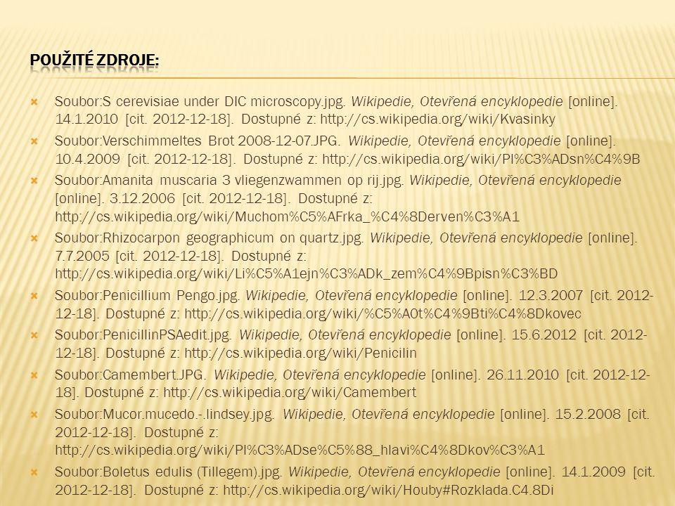  Soubor:S cerevisiae under DIC microscopy.jpg. Wikipedie, Otevřená encyklopedie [online]. 14.1.2010 [cit. 2012-12-18]. Dostupné z: http://cs.wikipedi