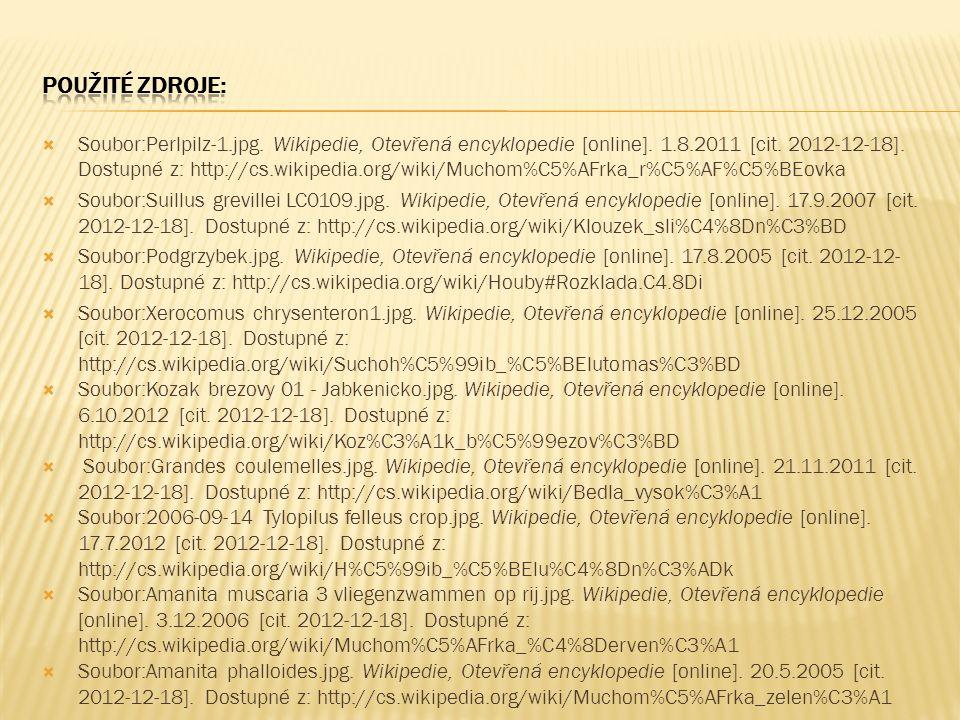  Soubor:Perlpilz-1.jpg. Wikipedie, Otevřená encyklopedie [online]. 1.8.2011 [cit. 2012-12-18]. Dostupné z: http://cs.wikipedia.org/wiki/Muchom%C5%AFr