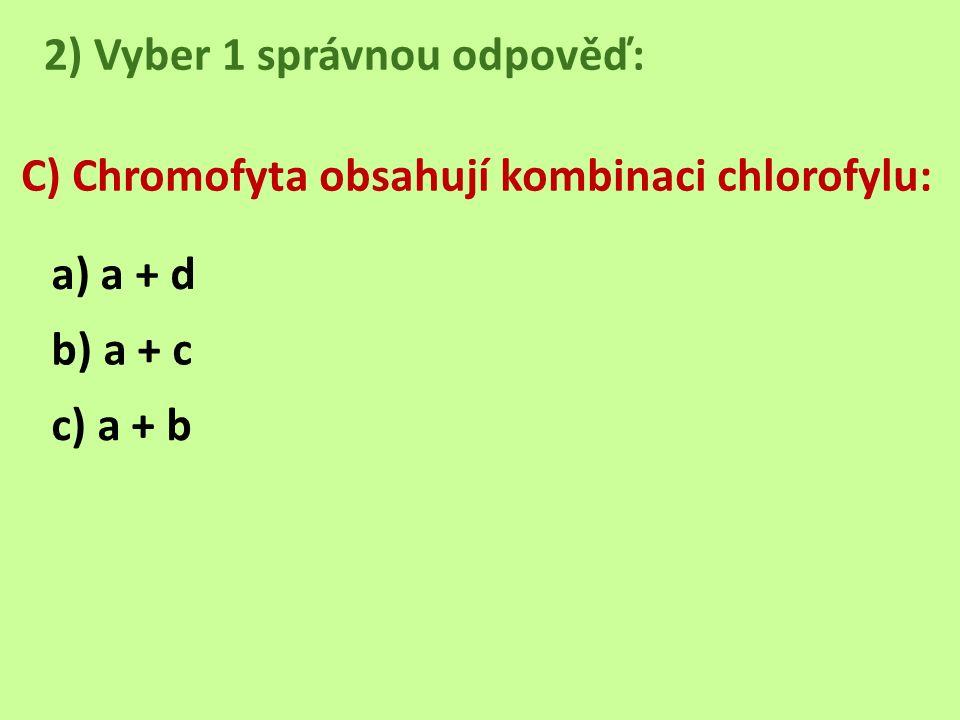 2) Vyber 1 správnou odpověď: C) Chromofyta obsahují kombinaci chlorofylu: a) a + d b) a + c c) a + b