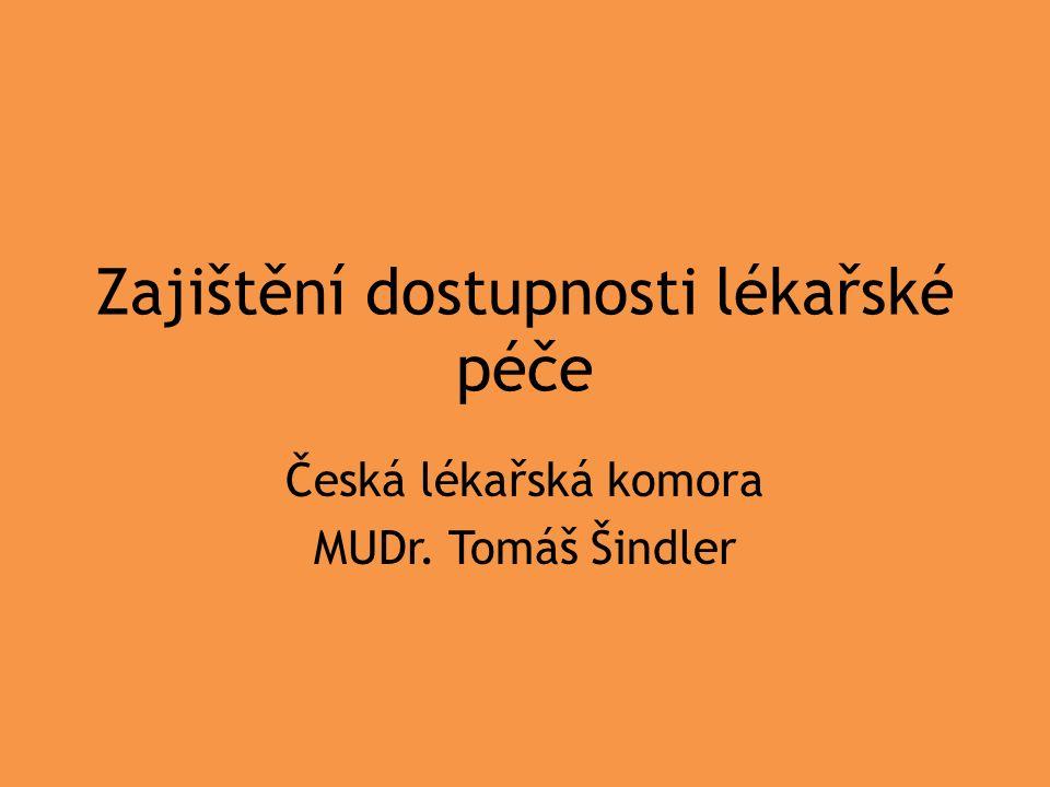 Zajištění dostupnosti lékařské péče Česká lékařská komora MUDr. Tomáš Šindler