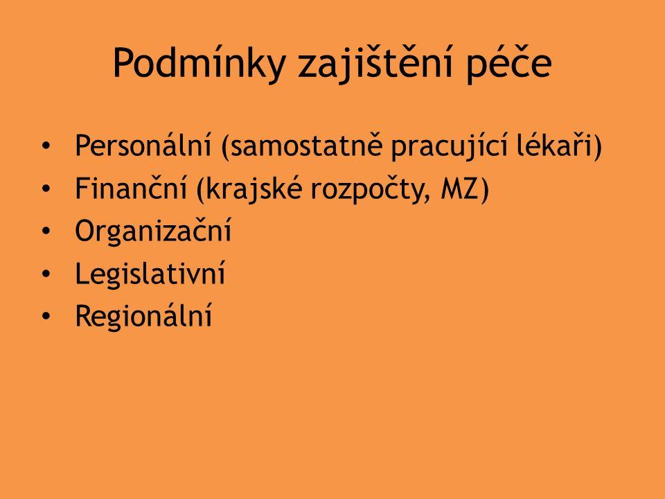 Podmínky zajištění péče Personální (samostatně pracující lékaři) Finanční (krajské rozpočty, MZ) Organizační Legislativní Regionální