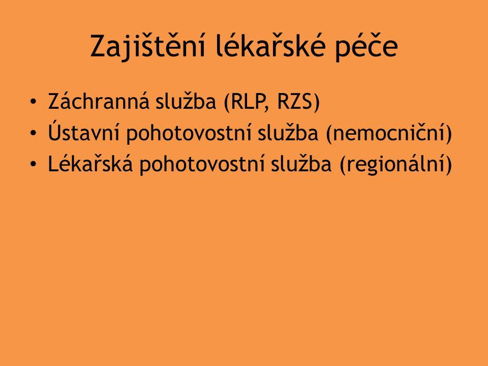 Zajištění lékařské péče Záchranná služba (RLP, RZS) Ústavní pohotovostní služba (nemocniční) Lékařská pohotovostní služba (regionální)