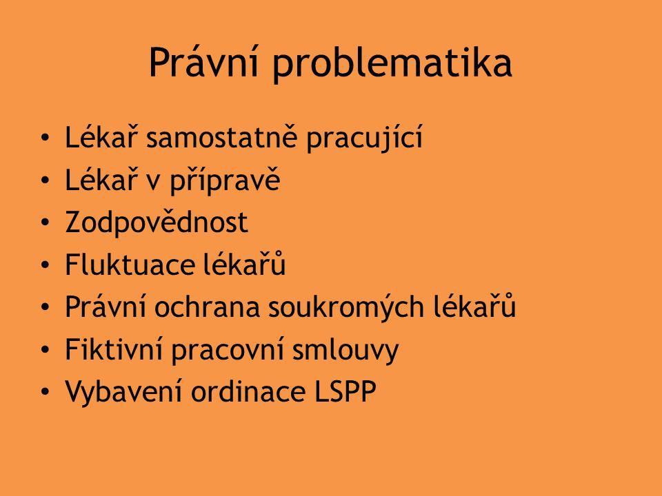Právní problematika Lékař samostatně pracující Lékař v přípravě Zodpovědnost Fluktuace lékařů Právní ochrana soukromých lékařů Fiktivní pracovní smlouvy Vybavení ordinace LSPP