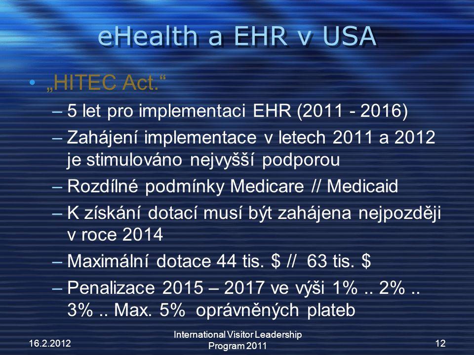 """eHealth a EHR v USA """"HITEC Act. –5 let pro implementaci EHR (2011 - 2016) –Zahájení implementace v letech 2011 a 2012 je stimulováno nejvyšší podporou –Rozdílné podmínky Medicare // Medicaid –K získání dotací musí být zahájena nejpozději v roce 2014 –Maximální dotace 44 tis."""