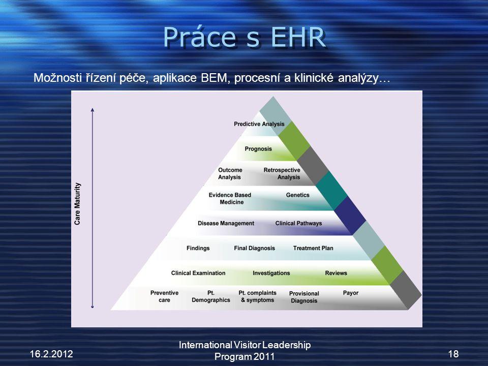 Práce s EHR 16.2.2012 International Visitor Leadership Program 2011 18 Možnosti řízení péče, aplikace BEM, procesní a klinické analýzy…