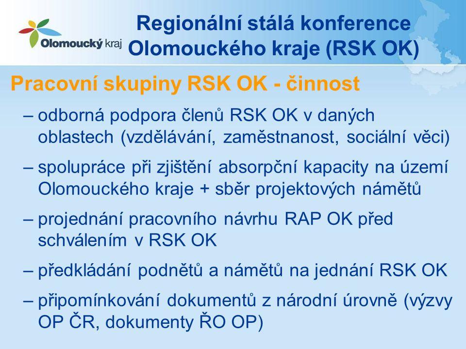 Regionální stálá konference Olomouckého kraje (RSK OK) Pracovní skupiny RSK OK - činnost –odborná podpora členů RSK OK v daných oblastech (vzdělávání,