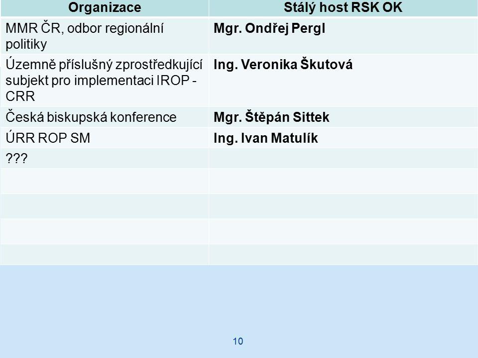10 OrganizaceStálý host RSK OK MMR ČR, odbor regionální politiky Mgr.