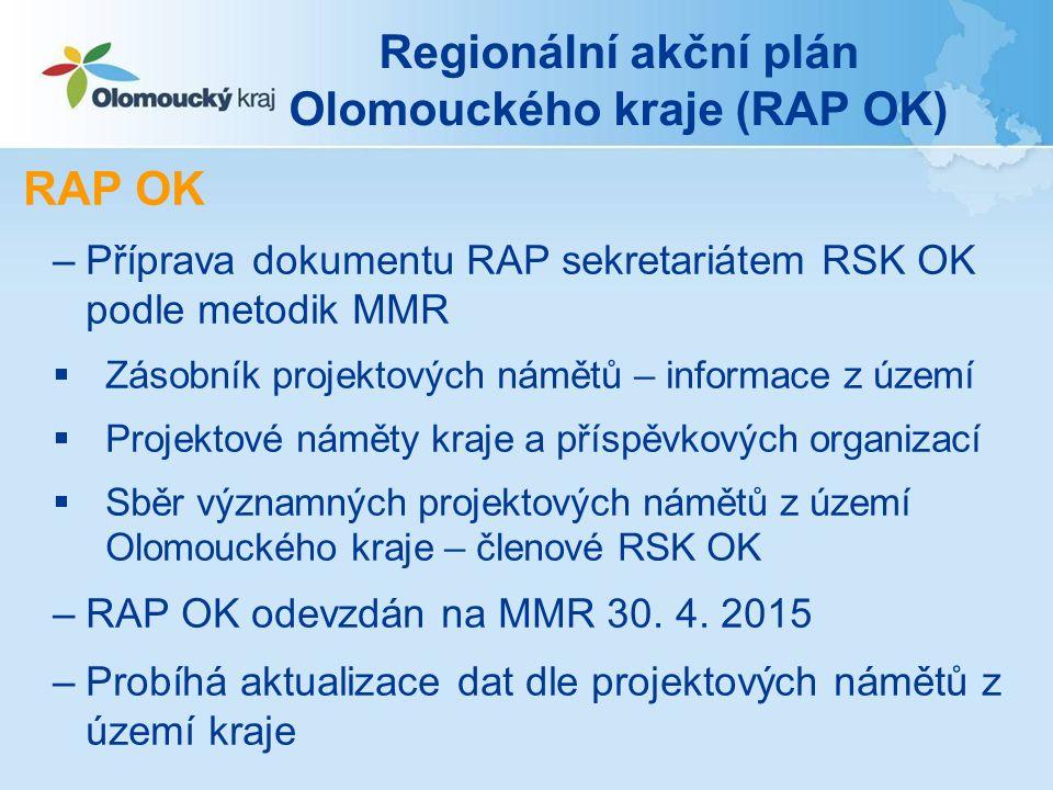 Regionální akční plán Olomouckého kraje (RAP OK) RAP OK –Příprava dokumentu RAP sekretariátem RSK OK podle metodik MMR  Zásobník projektových námětů – informace z území  Projektové náměty kraje a příspěvkových organizací  Sběr významných projektových námětů z území Olomouckého kraje – členové RSK OK –RAP OK odevzdán na MMR 30.