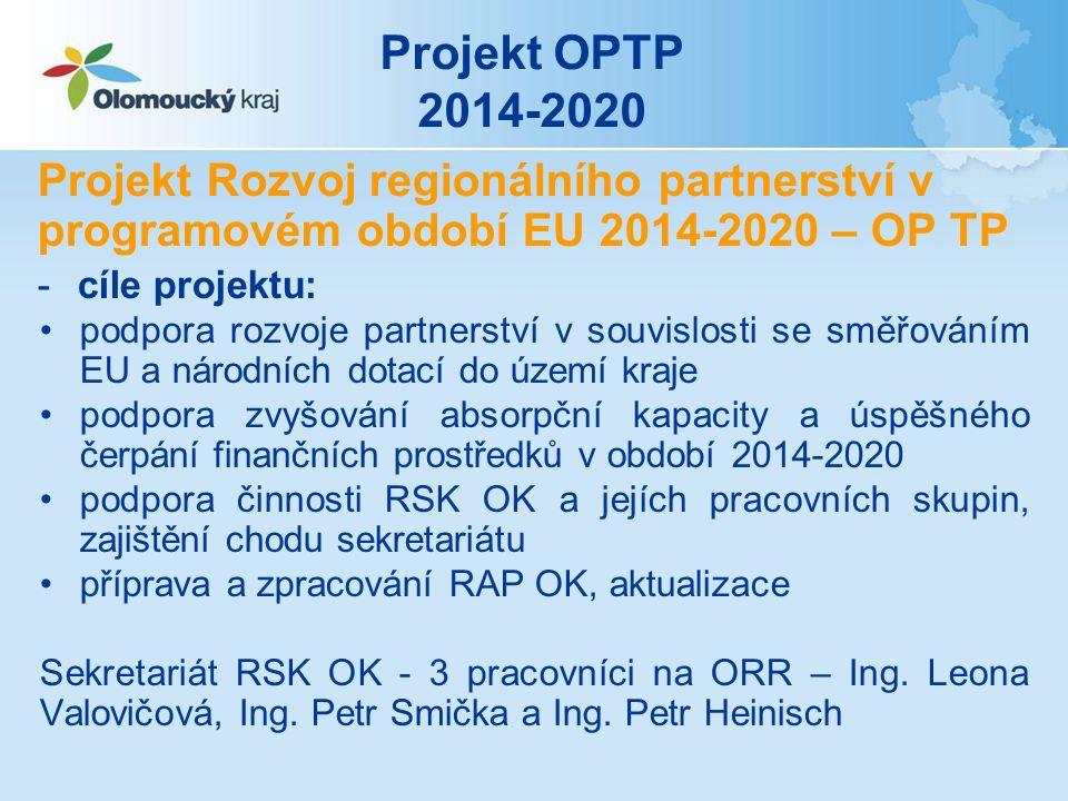 Projekt OPTP 2014-2020 Projekt Rozvoj regionálního partnerství v programovém období EU 2014-2020 – OP TP -cíle projektu: podpora rozvoje partnerství v souvislosti se směřováním EU a národních dotací do území kraje podpora zvyšování absorpční kapacity a úspěšného čerpání finančních prostředků v období 2014-2020 podpora činnosti RSK OK a jejích pracovních skupin, zajištění chodu sekretariátu příprava a zpracování RAP OK, aktualizace Sekretariát RSK OK - 3 pracovníci na ORR – Ing.