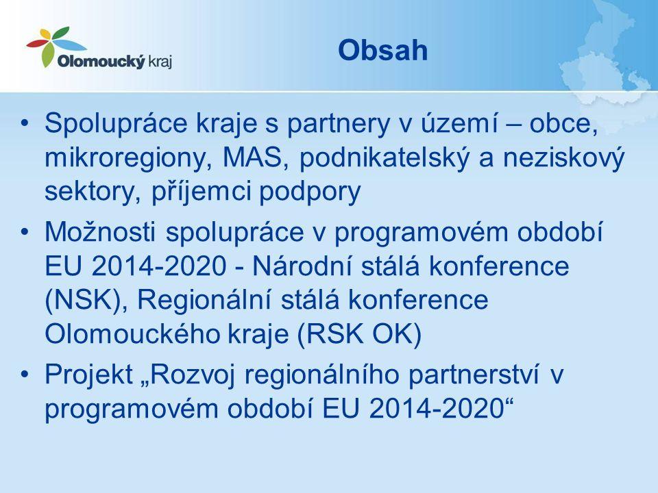 Regionální stálá konference Olomouckého kraje (RSK OK) Pracovní skupiny RSK OK –PS Vzdělávání –PS Sociální oblast –PS Zaměstnanost –PS RIS 3 –První jednání pracovních skupin se uskutečnilo v květnu 2015 –Program: personální obsazení PS, aktuální stav OP ČR, RAP OK