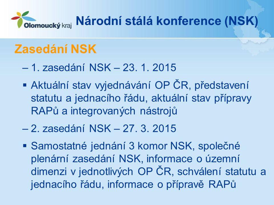 Národní stálá konference (NSK) Zasedání NSK –1. zasedání NSK – 23.