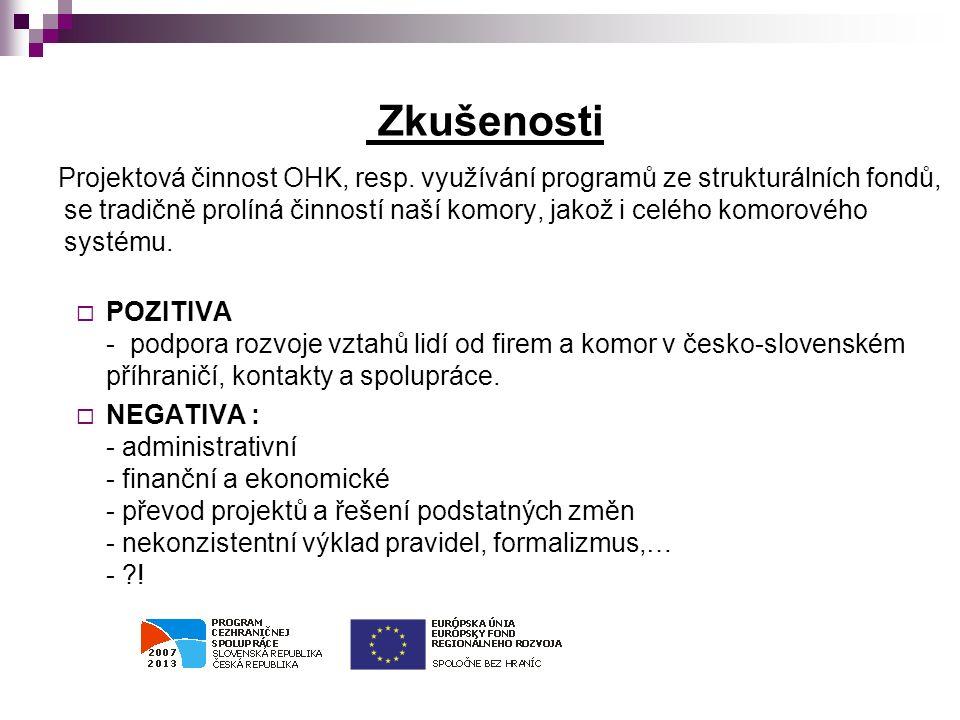 Zkušenosti Projektová činnost OHK, resp.