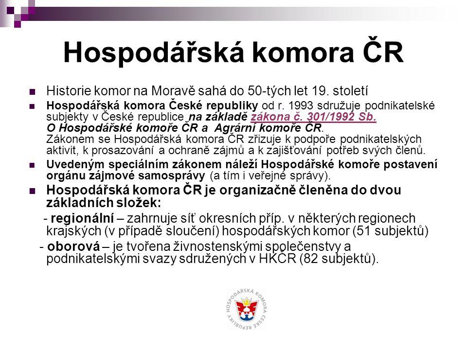 Hospodářská komora ČR Historie komor na Moravě sahá do 50-tých let 19.